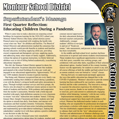 Montour School District Newsletter - November 2020