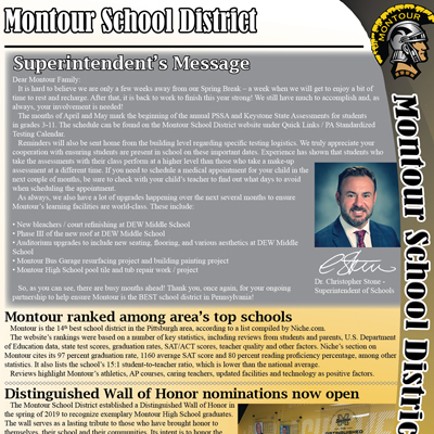 Montour School District Offical Newsletter - March 2020